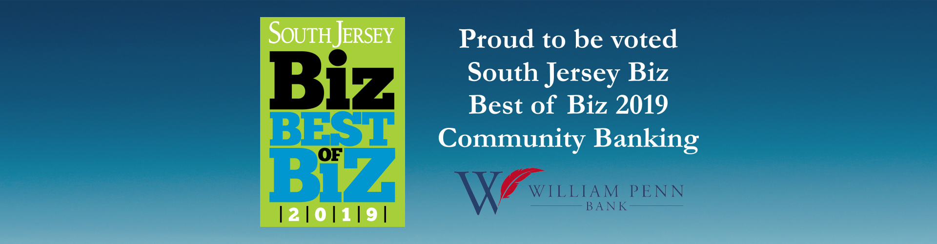 Proud to be voted South Jersey Biz Best of Biz 2019 Community Banking