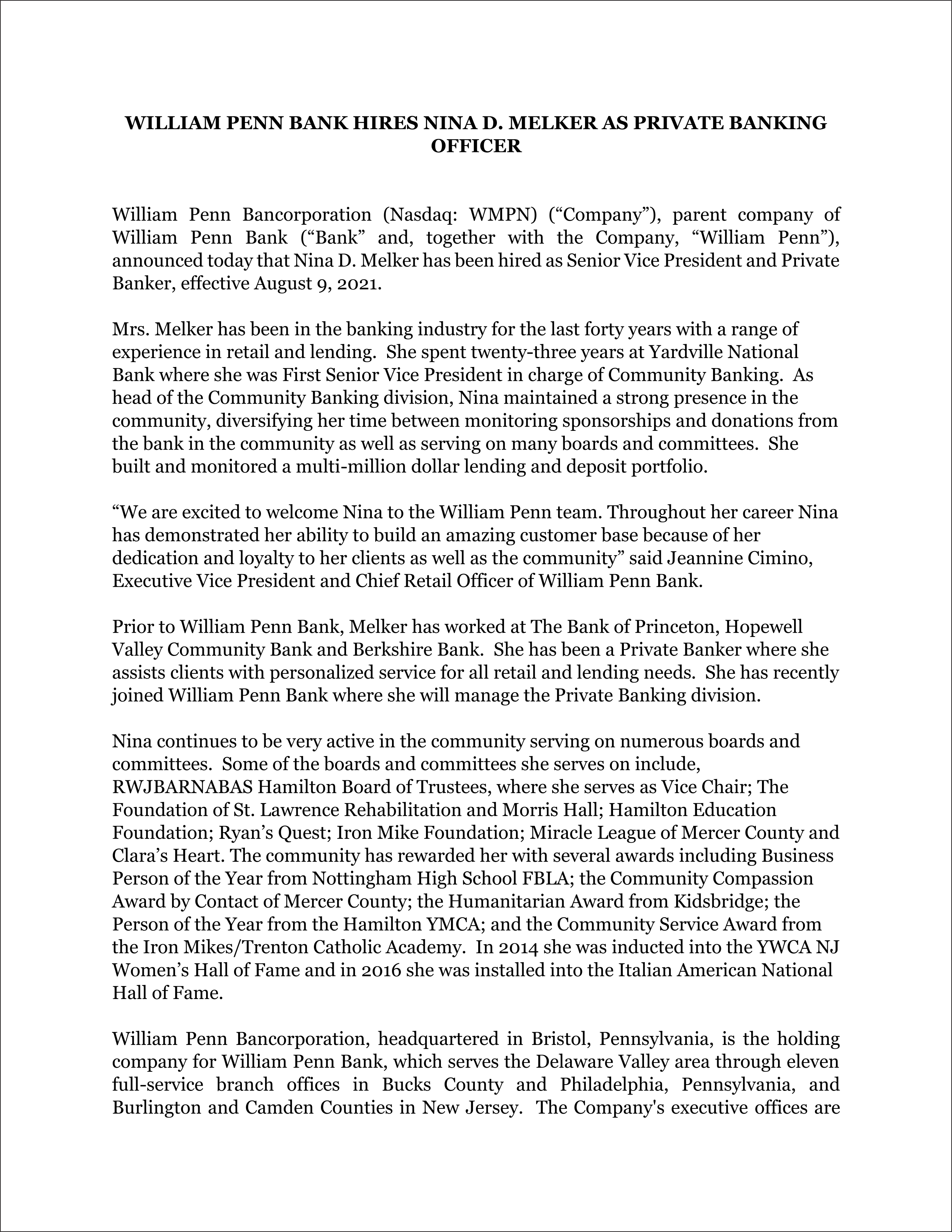 Nina D. Melker - Press Release